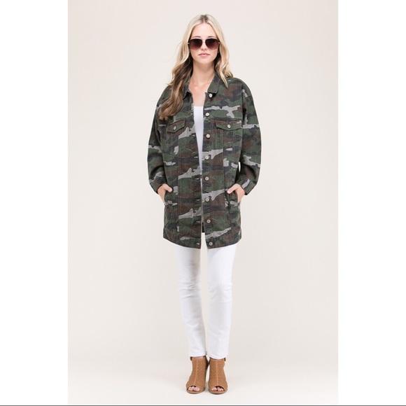 25c2c4cfdef0d Tres Bien Jackets & Coats   Camo Jean Oversized Jacket   Poshmark